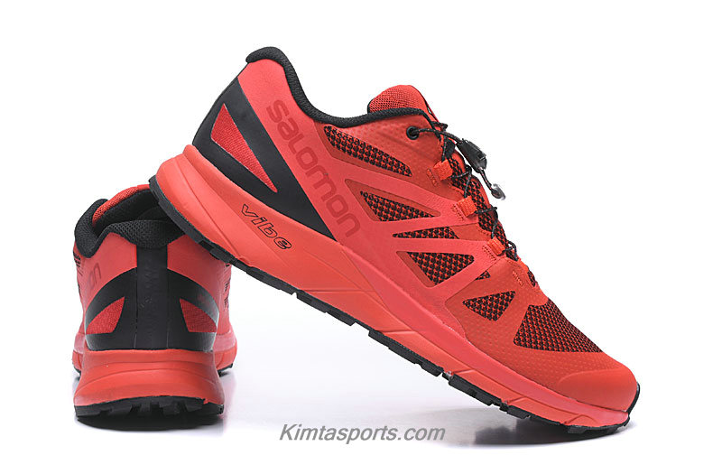 Salomon Sense Ride GTX Invisible Fit Heren Rood / Zwart Trail Hardloop Schoenen